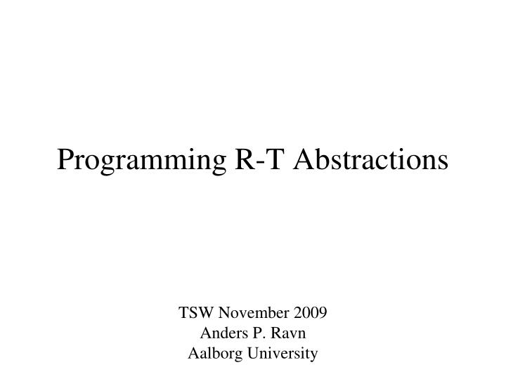 programming r t abstractions