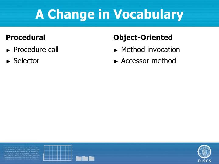A Change in Vocabulary