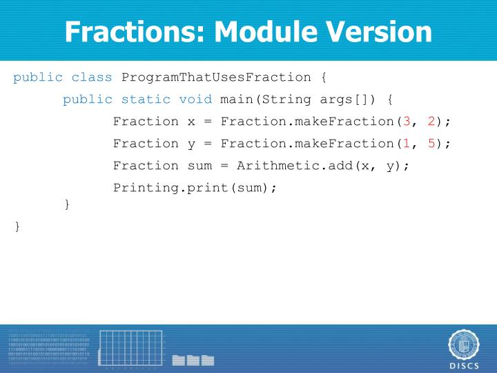 Fractions: Module Version