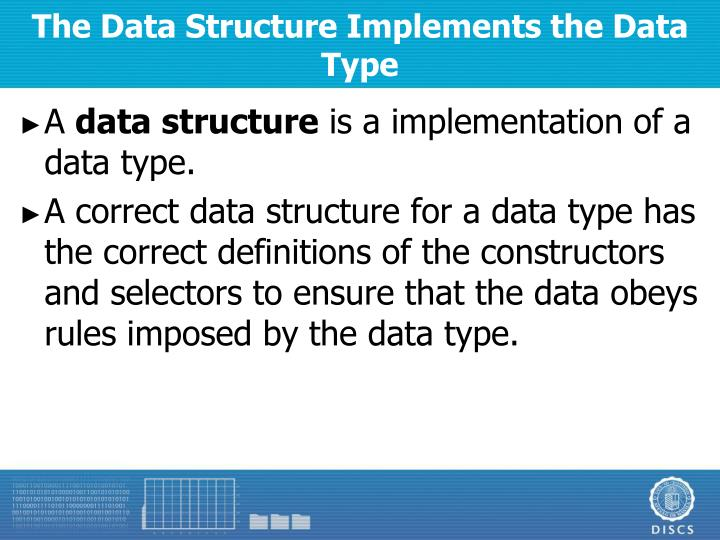 The Data Structure Implements the Data Type