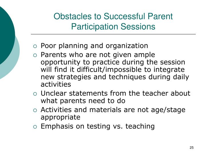 Obstacles to Successful Parent Participation Sessions