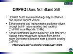 cmpro does not stand still