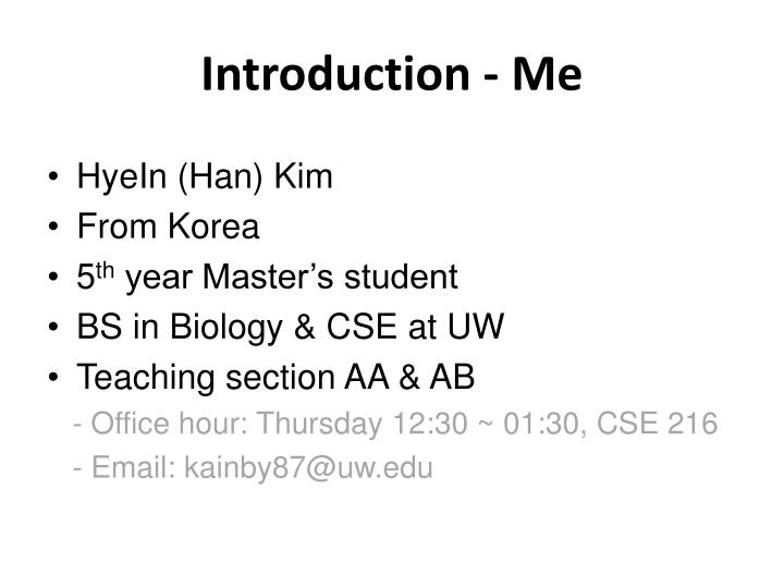 Introduction - Me