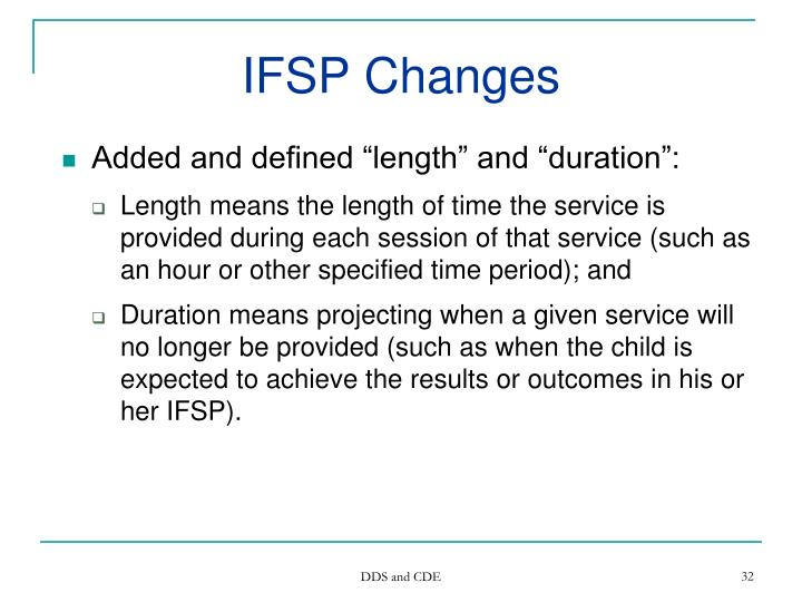 IFSP Changes