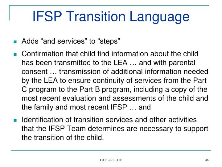 IFSP Transition Language
