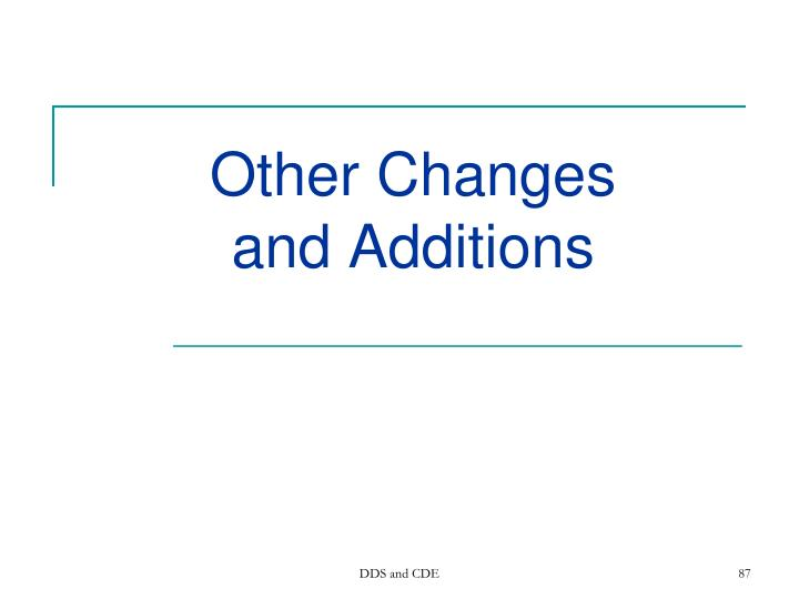 Other Changes