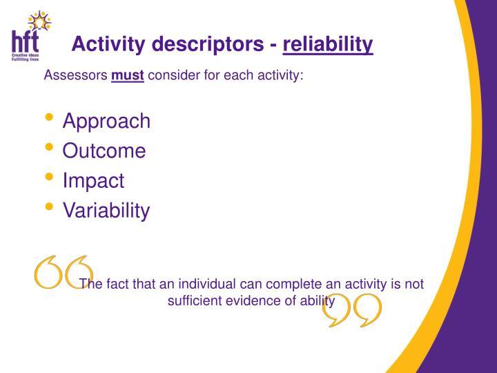 Activity descriptors -