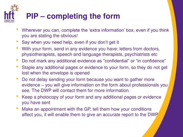 PIP – completing the form