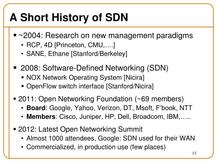A Short History of SDN