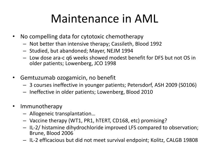 Maintenance in AML