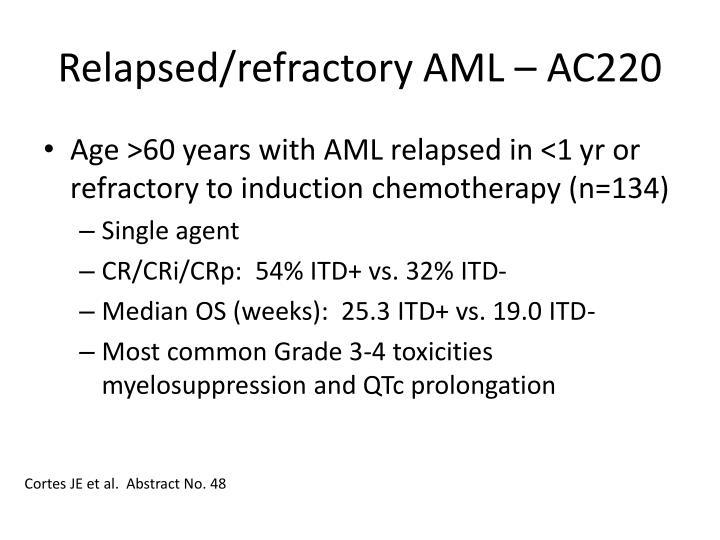 Relapsed/refractory AML – AC220