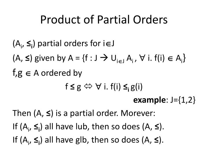 Product of Partial Orders
