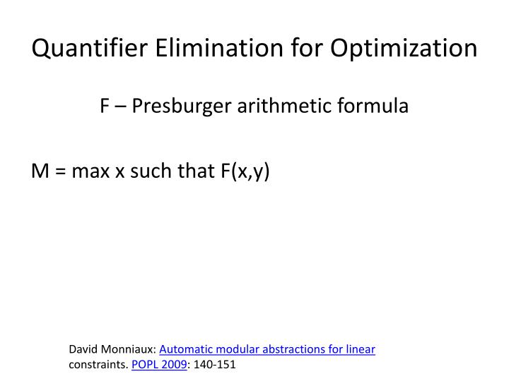 Quantifier Elimination for Optimization