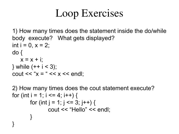 Loop Exercises