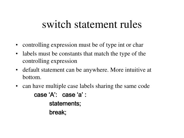 switch statement rules