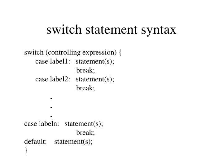 switch statement syntax