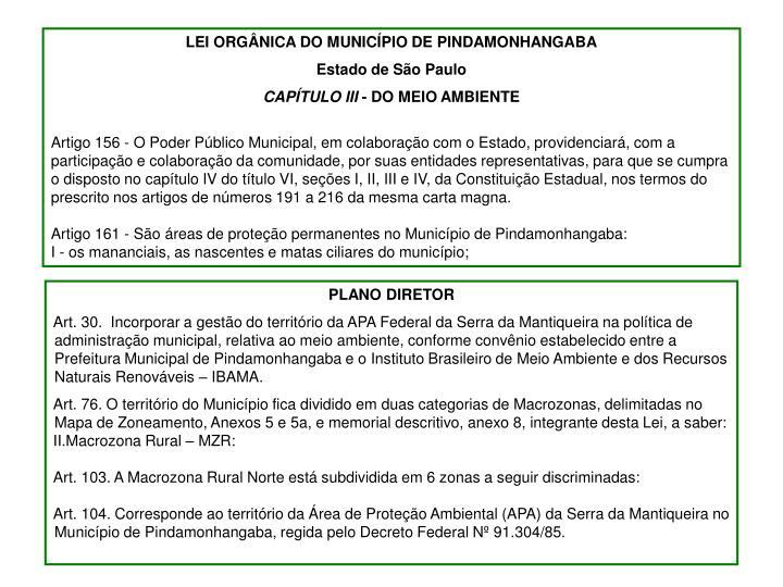 LEI ORGÂNICA DO MUNICÍPIO DE PINDAMONHANGABA