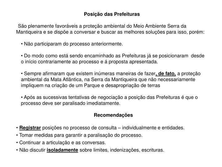 Posição das Prefeituras