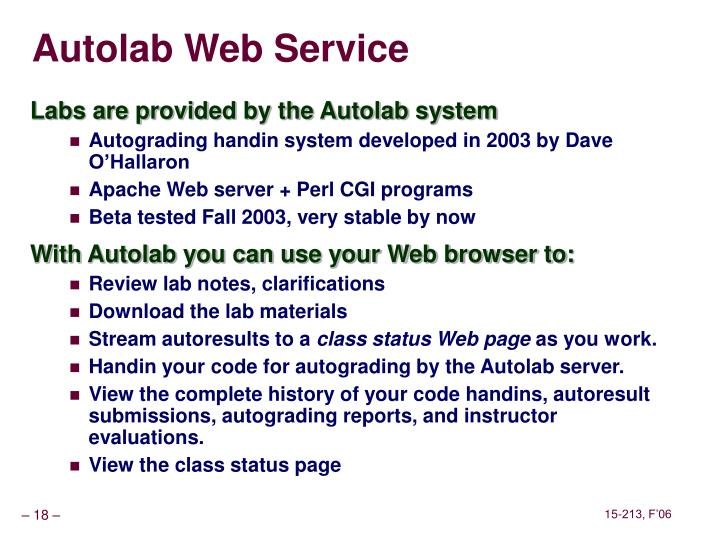 Autolab Web Service