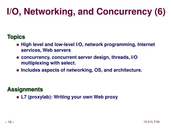 I/O, Networking, and Concurrency (6)