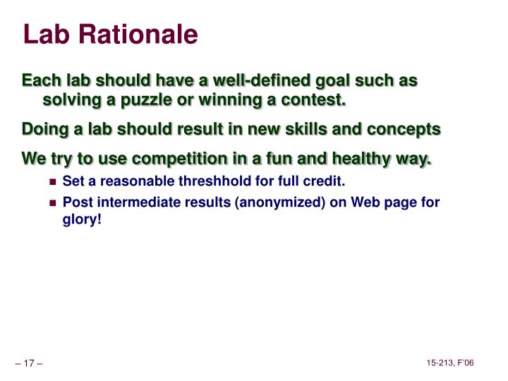 Lab Rationale