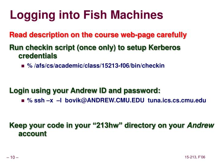 Logging into Fish Machines