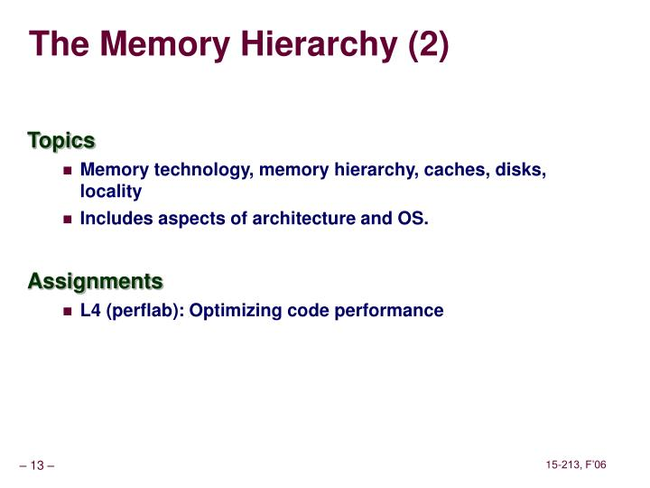 The Memory Hierarchy (2)