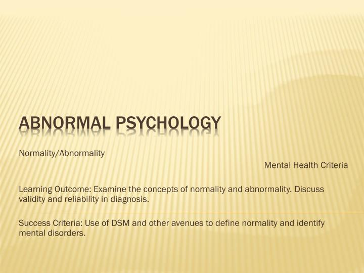 Normality/Abnormality