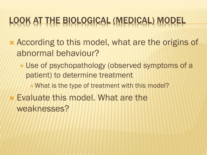 According to this model, what are the origins of abnormal behaviour?