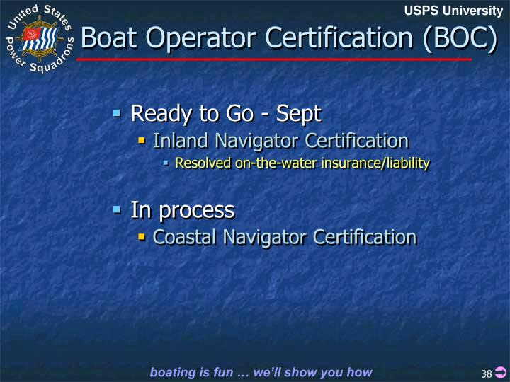 Boat Operator Certification (BOC)