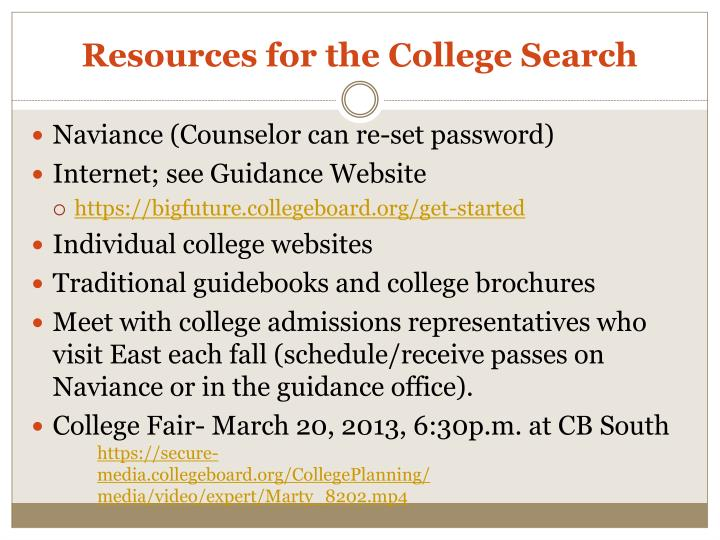 Resources for the College Search