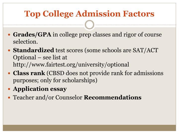 Top College Admission Factors