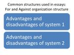 common structures used in essays for and against organization structure