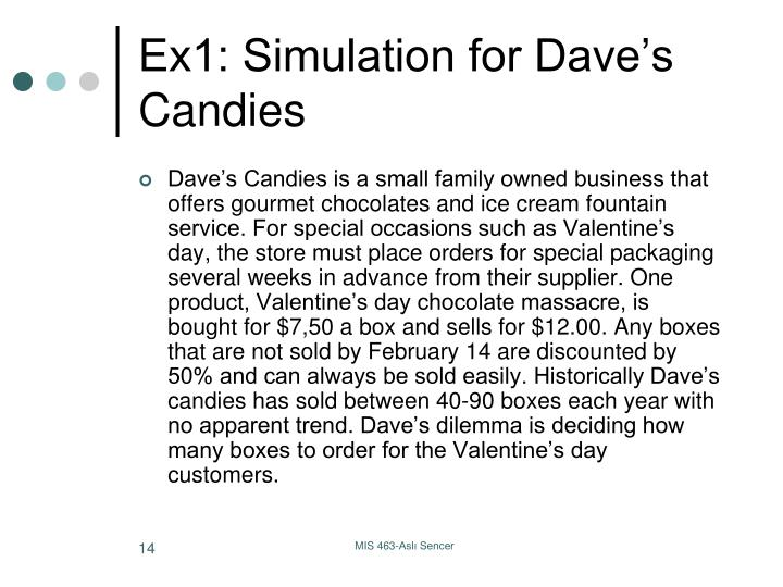 Ex1: Simulation for Dave's Candies