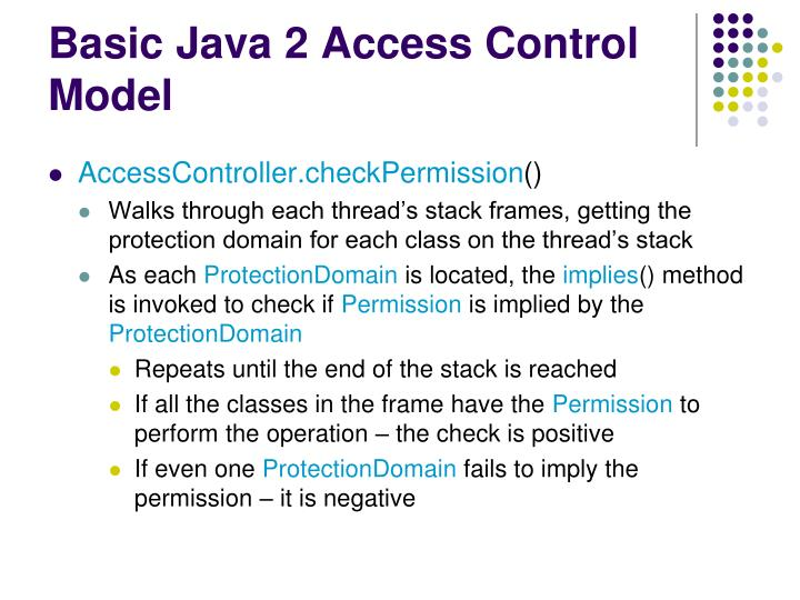 Basic Java 2 Access Control Model