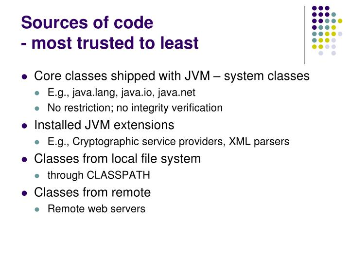 Sources of code