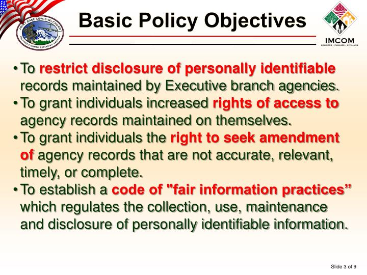Basic Policy Objectives