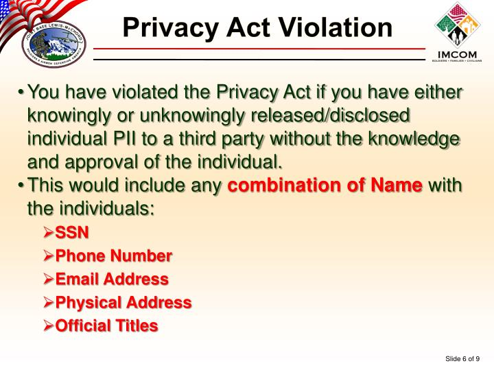 Privacy Act Violation