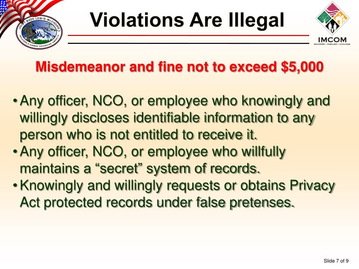 Violations Are Illegal