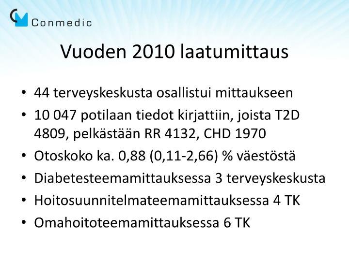 Vuoden 2010 laatumittaus