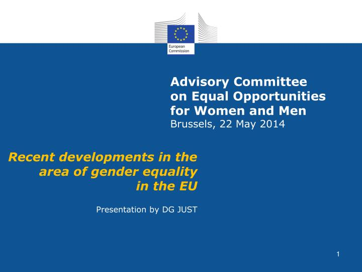 advisory committee on equal opportunities for women and men brussels 22 may 2014