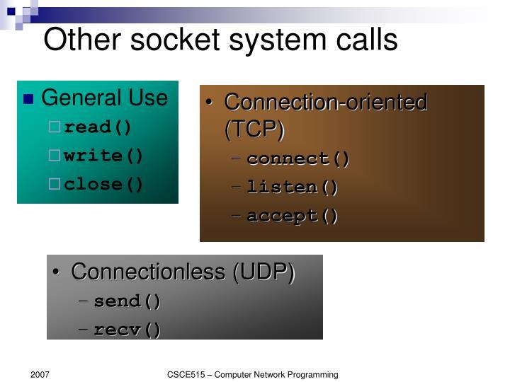 Other socket system calls