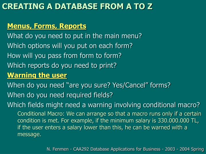 Creating a database from a to z1