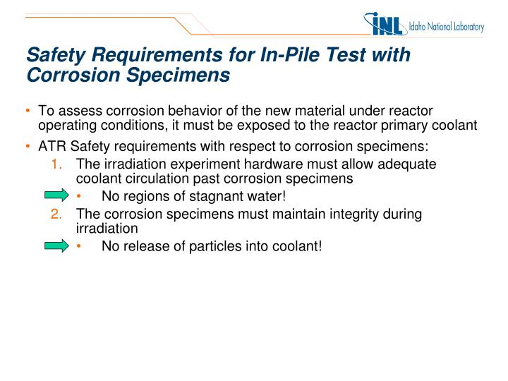 Safety Requirements for In-Pile Test with Corrosion Specimens