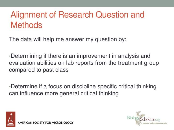 Alignment of Research Question and Methods