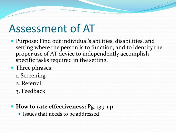 Assessment of AT