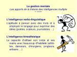 la gestion mentale les apports de la th orie des intelligences multiple h gardner