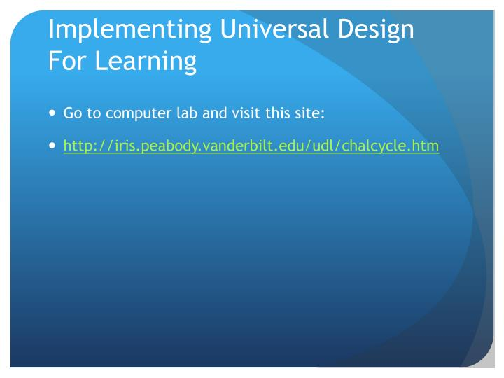 Implementing Universal Design For Learning