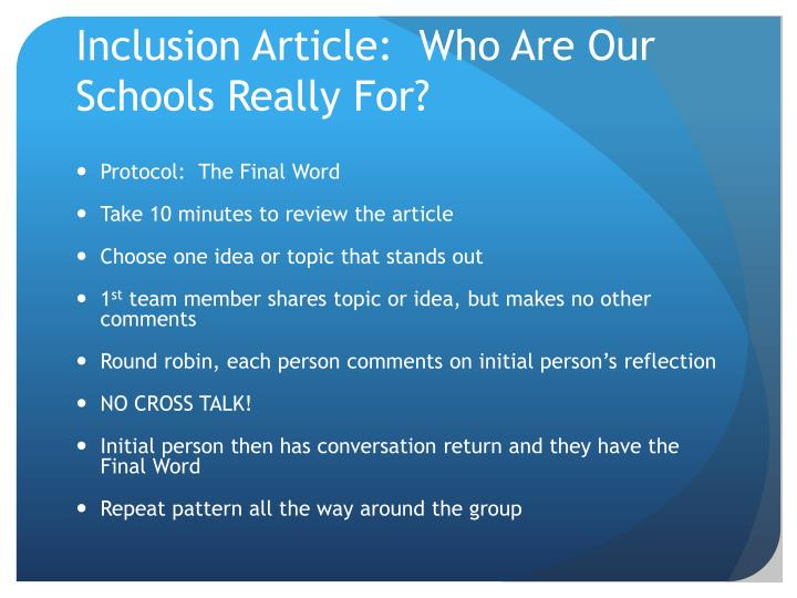 Inclusion Article:  Who Are Our Schools Really For?