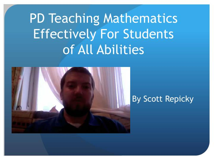 pd teaching mathematics effectively for students of all abilities